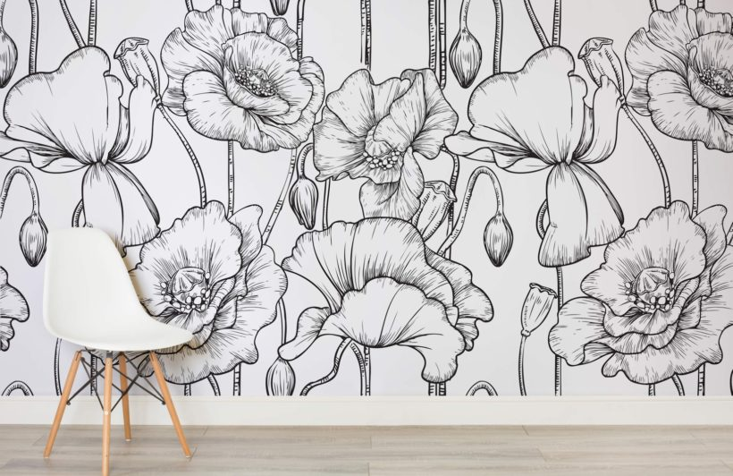 black-white-illustrated-flowers-room-820x532